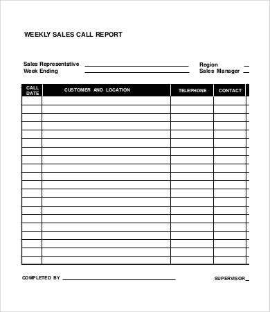 weekly sales call report template
