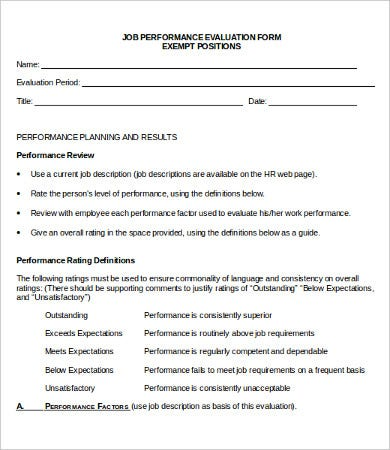 Performance Evaluation Form - 10+ Free Word, Pdf Documents