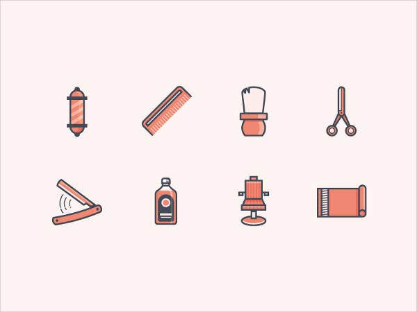 barber shop tools icons