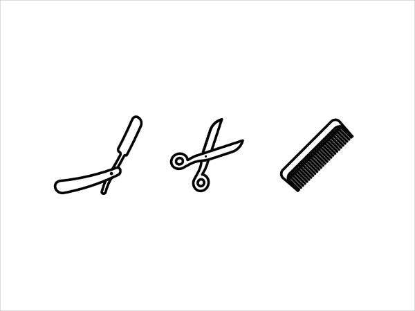 black-barber-icons-set