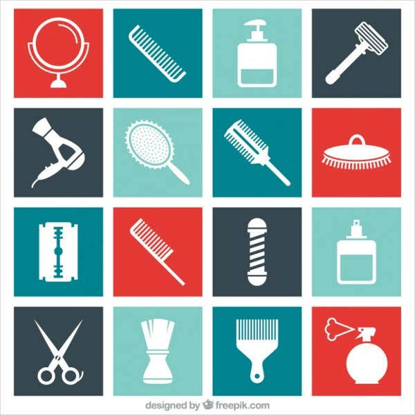 flat-barber-icons