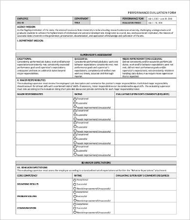 General Performance Evaluation Form