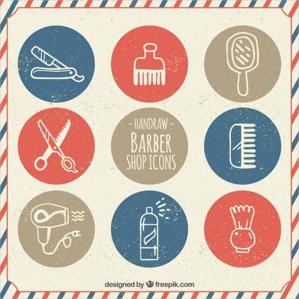 hand drawn barber icons