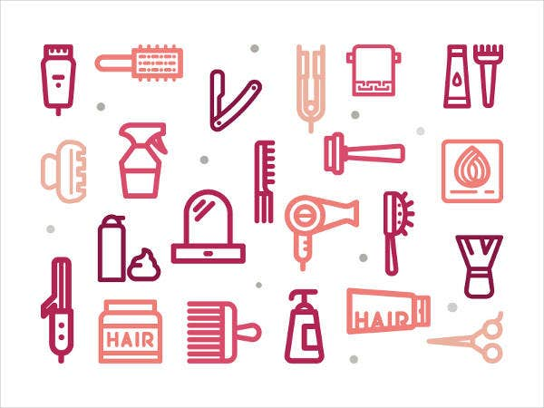 hair salon icons set
