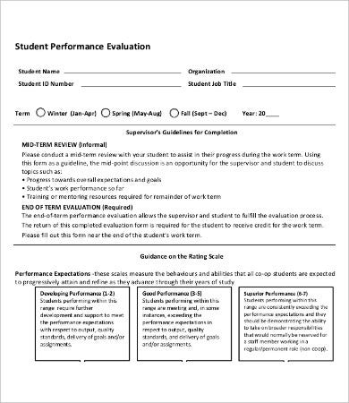 Student Performance Evaluation Form