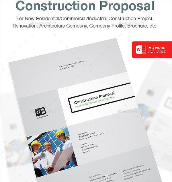 Construction Proposal Template   Free Word Pdf Psd Format