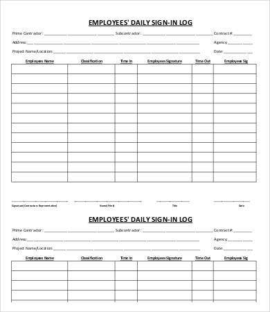 Employee SignIn Sheet Template   Free Pdf Documents Download