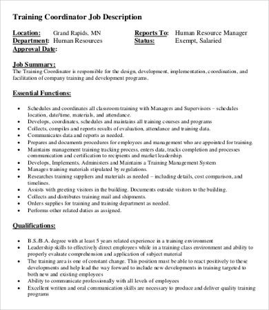 Coordinator Job Description Templates  Pdf Doc  Free