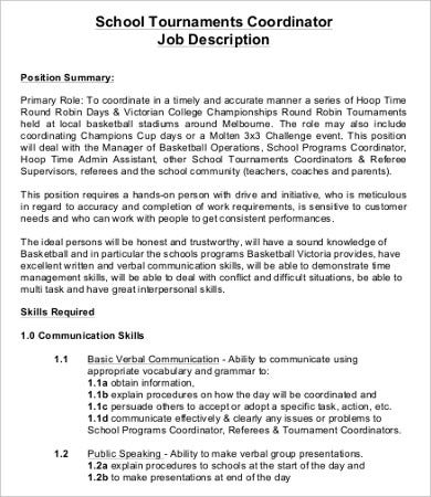 Coordinator Job Description   Free Word Pdf Documents Download