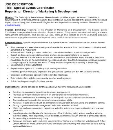 10 coordinator job description templates pdf doc for Events manager job description template
