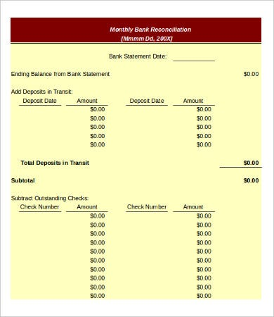 bank reconciliation template 11 free excel pdf documents