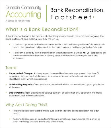 Bank Reconciliation Template - 10+ Free Excel, Pdf Documents