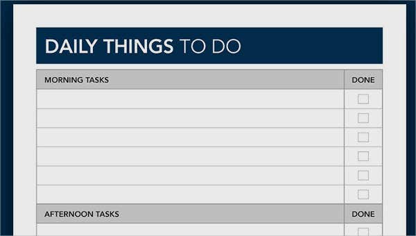 sample things to do list templates