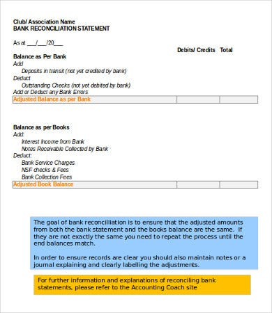 Bank Reconciliation Statement Download  Bank Reconciliation Statement Template