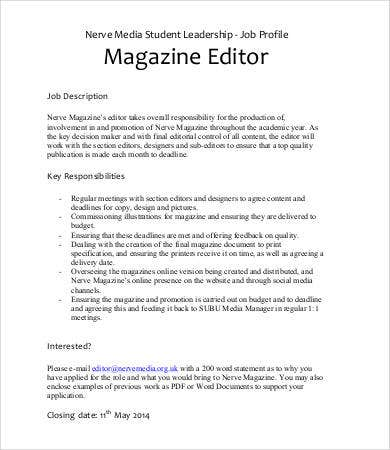 Editor Job Description   Free Word Excel  Format Download