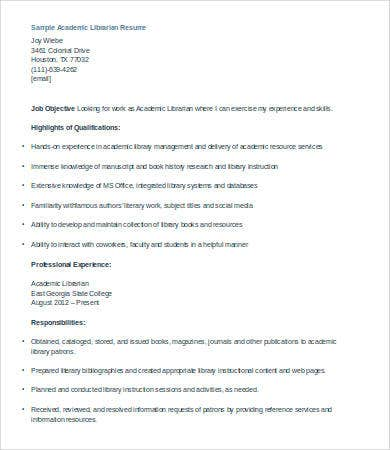 Librarian Resume Library Page Resume Sample And Resume Building