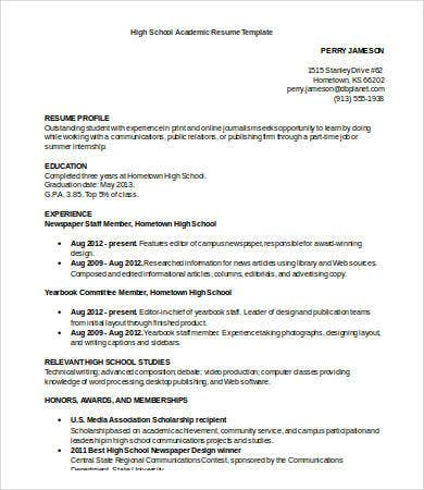 high school academic resume template