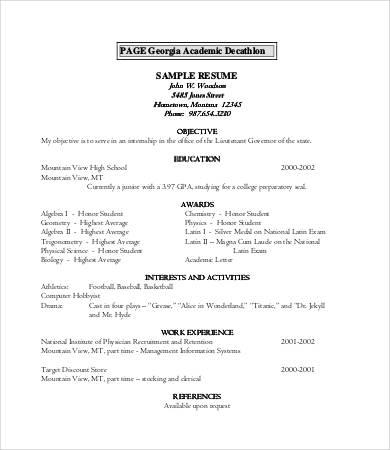 academic resume template high school 10 high school resume