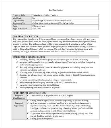Editor Job Description - 9+ Free Word, Excel, Pdf Format Download