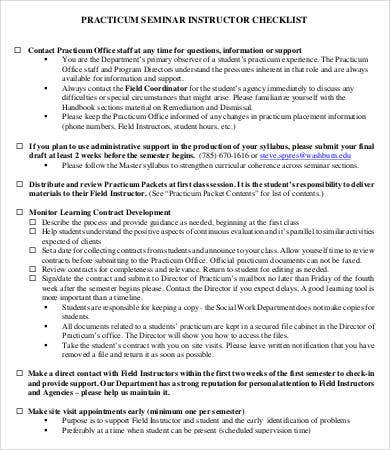 Practicum Seminar Instructor Checklist