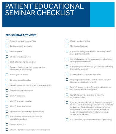 Patient Educational Seminar Checklist