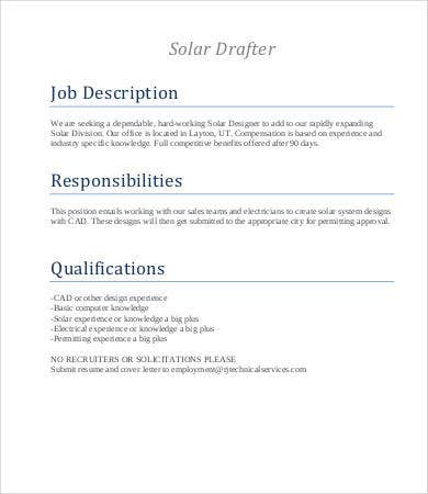 solar drafter job description