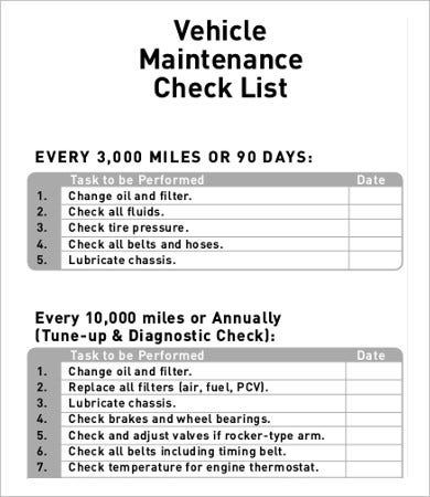 vehicle service checklist template - daily checklist template 10 free pdf documents download