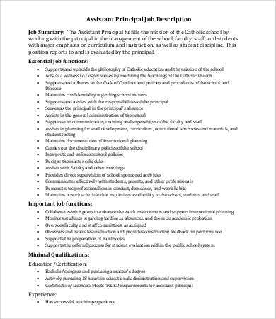 Assistant Principal Job Description