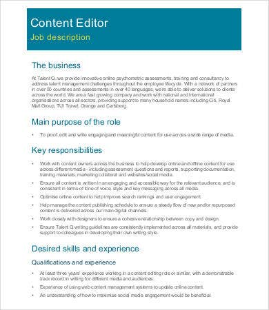Content Editor Job Description