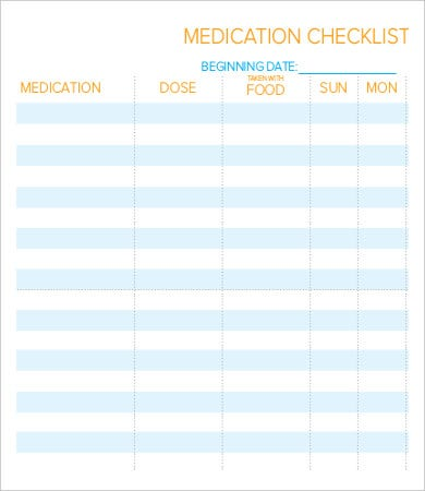 daily medication checklist template