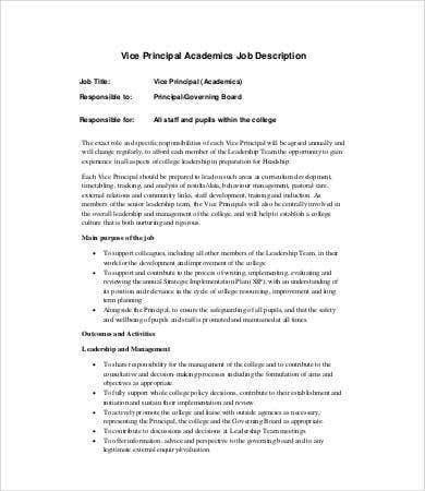 vice principal job description