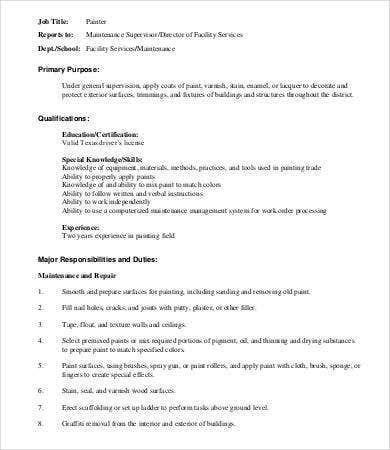 basic job description template - 8 painter job descriptions in pdf free premium templates