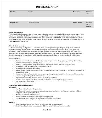 entry level painter job description