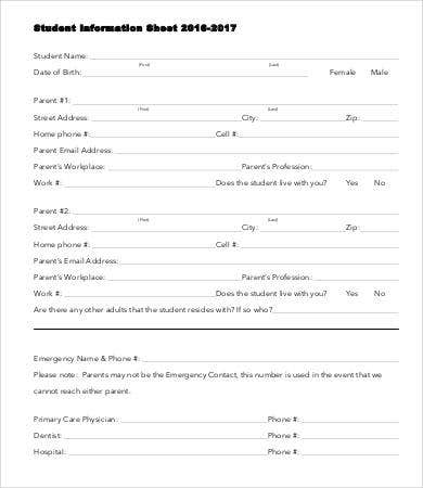Student Information Sheet Template