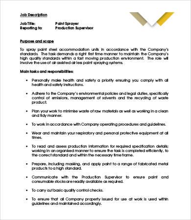 8+ Painter Job Descriptions in PDF | Free & Premium Templates