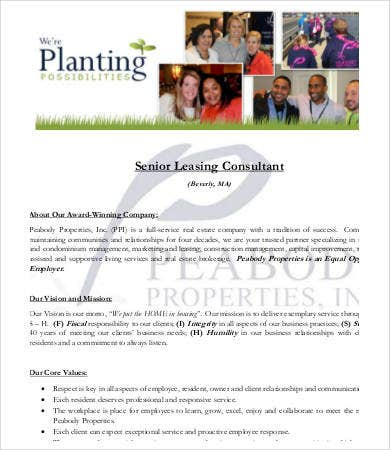 senior leasing consultant job description