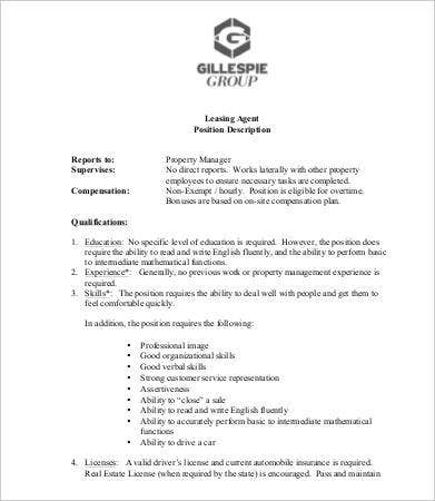 Leasing Consultant Job Description - 5 Free Pdf Format Download