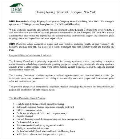 floating leasing consultant job description