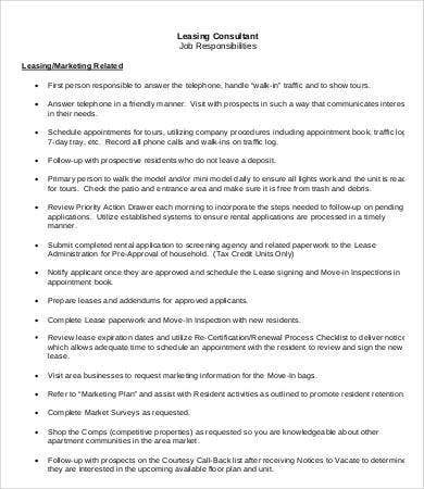 Leasing Consultant Job Description   Free Pdf Format Download