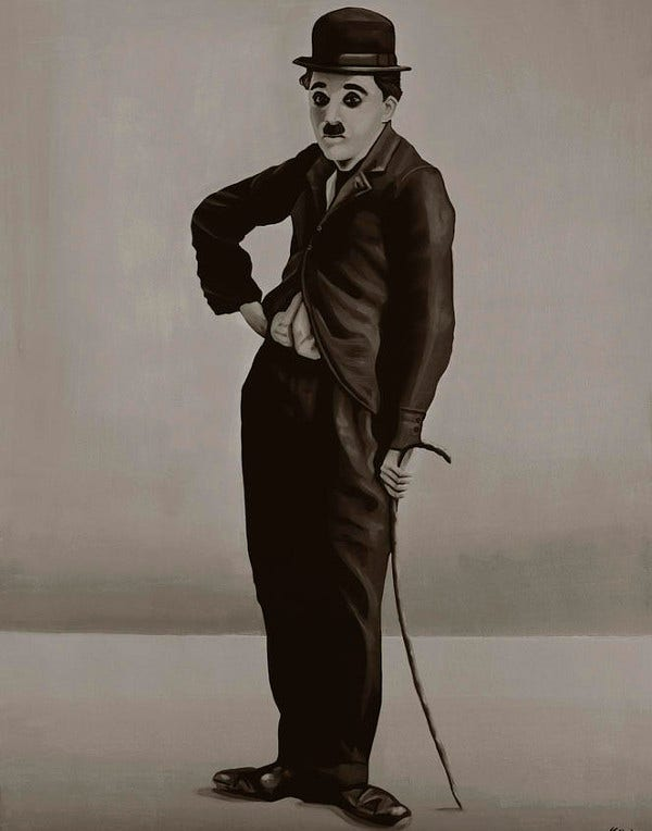 Black and White Painting of Charlie Chaplin
