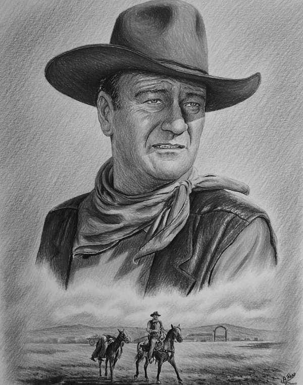 Black and White Drawing of John Wayne