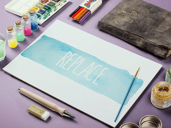 watercolor sketchbook mockup