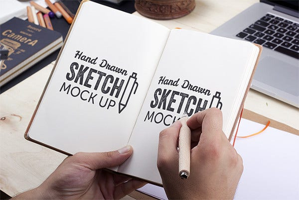 sketchbook mock up presentation