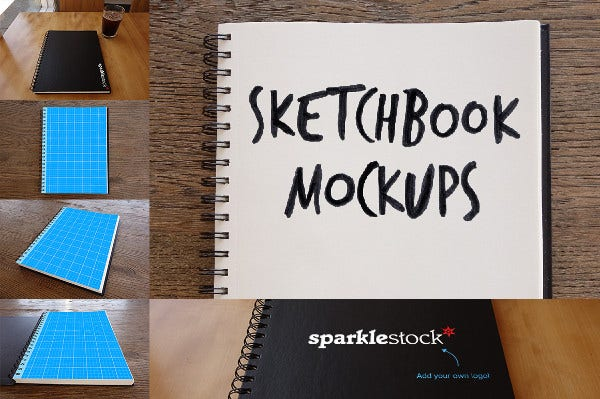 sketchbook mockup in photorealistic