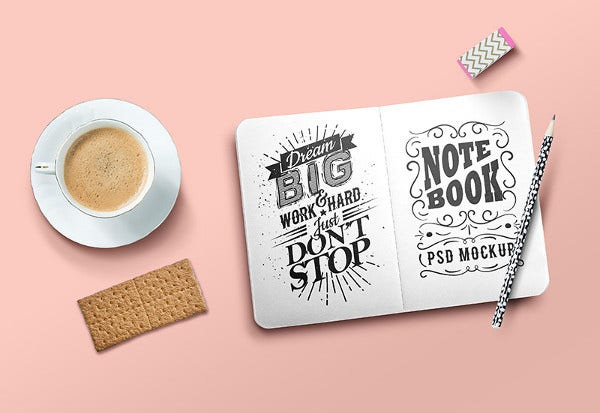 beautiful sketchbook mockup