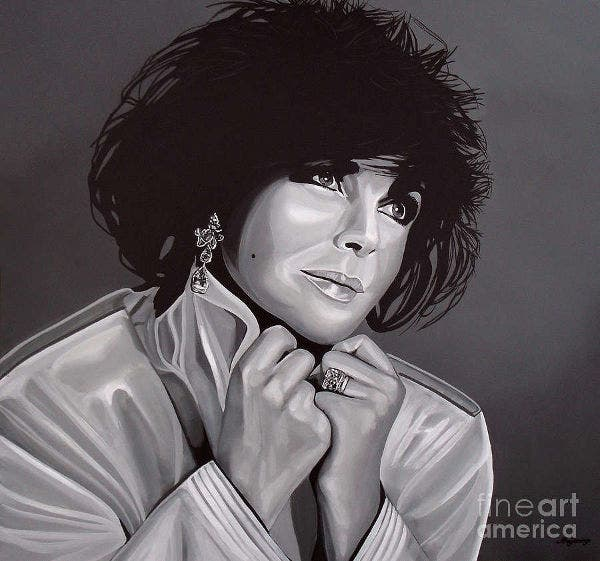Black and White Painting Elizabeth Taylor