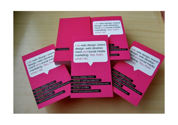 Pink Color Business Card