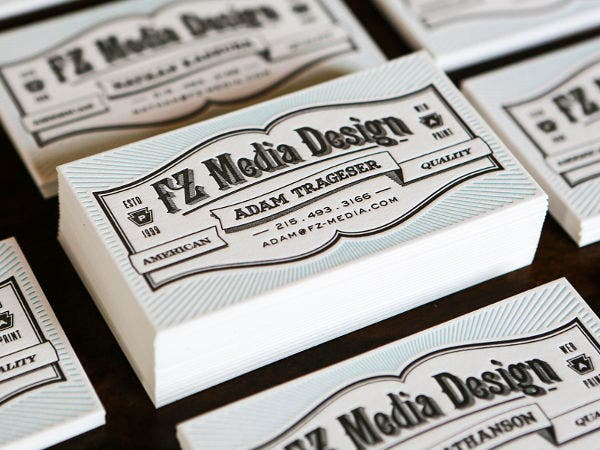 Letterpress Typography Business Card