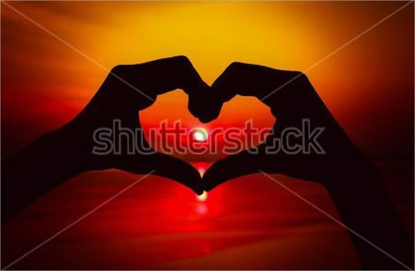 heart hands silhouette