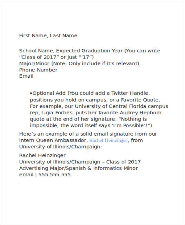 formal email signature college student1